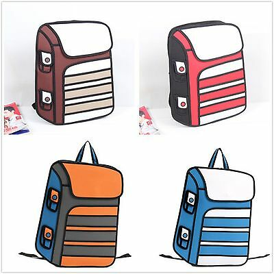 New 3D Jump Style 2D Drawing From Cartoon Paper Bag Comic Backpack Bag
