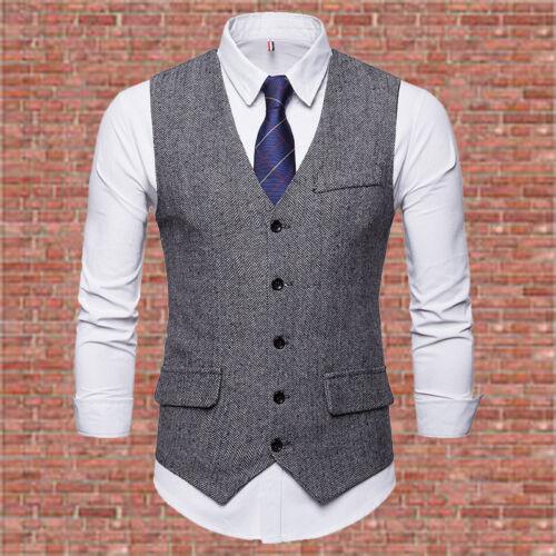 New herringbone single breasted waistcoat men/'s slim solid color suit vest UK