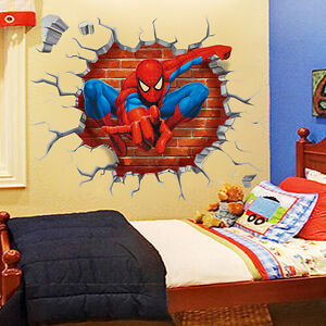 3d spiderman wandtattoo aufkleber wandaufkleber wandsticker kinderzimmer deko ebay. Black Bedroom Furniture Sets. Home Design Ideas