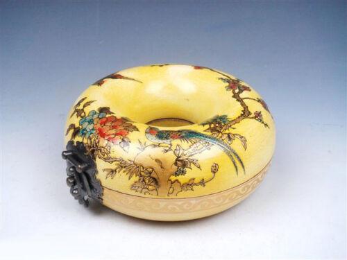 Chinese Yellow Wood Birds Flowers Plum Blossoms Hand Painted Round Jewelry Box