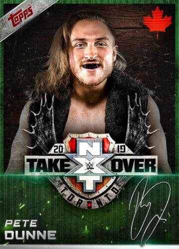 Topps SLAM Wwe Pete Dunne Verde firma NXT absorción Toronto 19 Digital 250cc