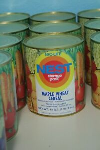 Vintage-1970s-Neo-Life-NEST-Maple-Wheat-Cereal-Can-Full-Unopened-Storage-Pack