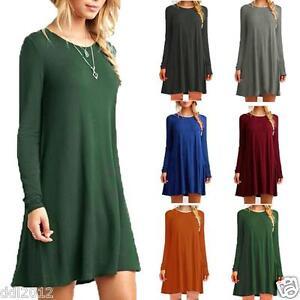 Women-Ladies-Casual-Loose-Long-Tops-Cotton-Tunic-Swing-Skater-Mini-Skirt-Dress