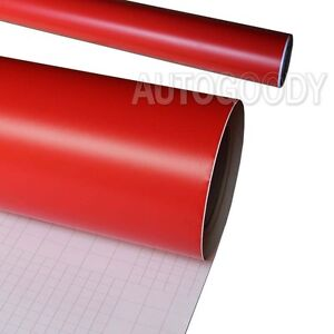 "*12/""x60/"" Matte Flat Red Car Vinyl Wrap Sticker Decal Air Release Bubble Free"