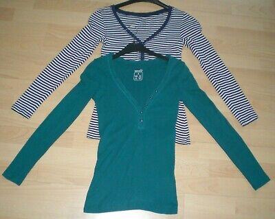 *****esmara 2 X Damen Shirt Größe S In Grün & Blau-weiß***** Attraktives Aussehen