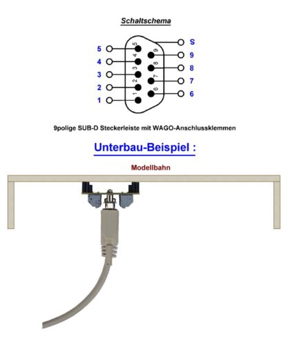 9 bipolaire sub-D Connecteur avec wago pince Barre de soubassement pour les maquettes