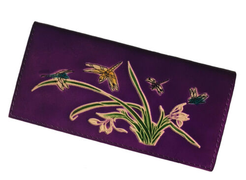 Dragonflies /& Iris Flower Pattern Embossed Purple Leather Checkbook Cover
