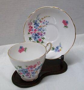 Regency-English-Bone-China-Teacup-and-Saucer-Pink-Purple-Blue-Flowers-Vintage