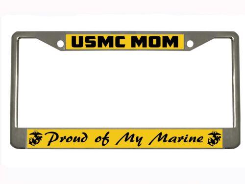 USMC mom proud of my marine Metal Heavy Duty License Plate Frame CHROME//BLACK