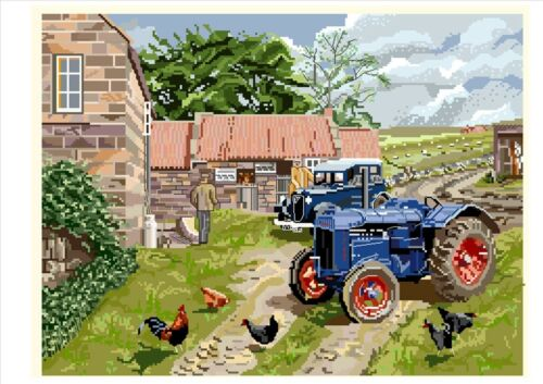 Farmyard Fordson tractor counted cross stitch kit//chart 14s