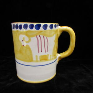 Solimene-Vietri-Yellow-Ram-Mug-Coffee-Cup-Hand-Painted-Pottery-Campagna-Italy