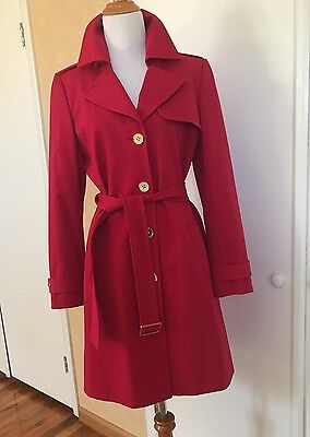 TAHARI Womens Red Lightweight Author S Levine Trench Coat Long Jacket Size 6
