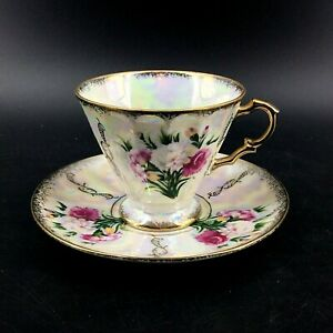 Vintage-Pandora-Products-Japan-Lusterware-Footed-Teacup-Set-Roses-Gold-Trim