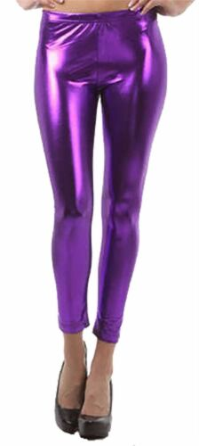 Femme Stretch Brillant Métallisé Legging Femme Fantaisie Aspect Mouillé Disco Skinny Pantalon