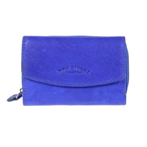 Kleine Damen Geldbörse echt Leder Brieftasche Lederbörse im querformat  Blau NEU