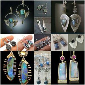 Vintage-Turquoise-925-Silver-Ear-Hook-Stud-Dangle-Drop-Earrings-Moonstone-Women