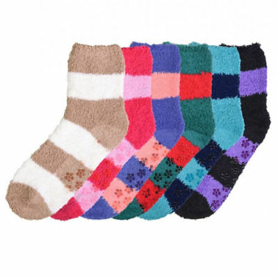 6 Pair Non-Skid Cozy Fuzzy Super Soft Winter Stripe Solid Slipper Socks 9-11
