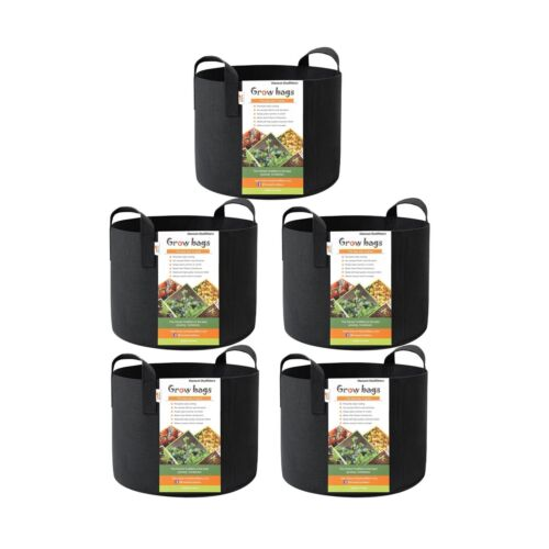 HONEST OUTFITTERS 5-Pack 7 Gallon smart Grow Bags for Potato//Plant Container//...