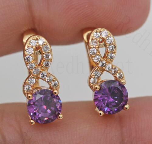 18K Gold Filled Hollow Geometry Swirl Amethyst Topaz Gems Pageant Earrings