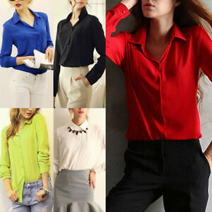 New-Women-Shirt-Chiffon-Blouse-Long-Sleeve-Office-Ladies-Top-Spring-Fall-Fashion