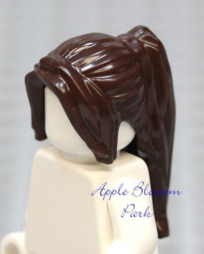 NEW Lego Female Minifig Dark BROWN HAIR Castle Princess Girl Ponytail Head Gear
