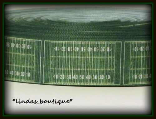 "1YD 1/"" FOOTBALL FIELD TURF GRASS CRAFT HAIRBOW GROSGRAIN RIBBON GREEN"