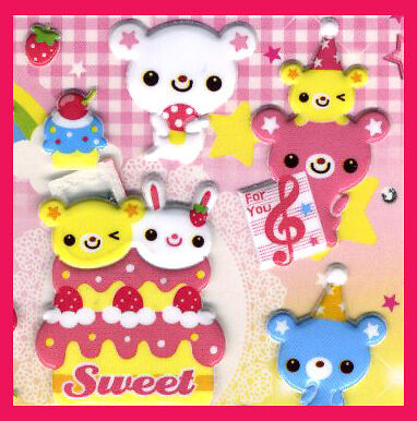 4 sheets sticker Sweet Bear colorful puff sticker