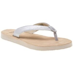 93fe6b4a6 Image is loading New-WOMENS-UGG-LIQUID-SILVER-TAWNEY-LEATHER-SANDALS-