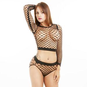 Women Ladies Long Sleeve See Through Mesh Fishnet Crop Top ...