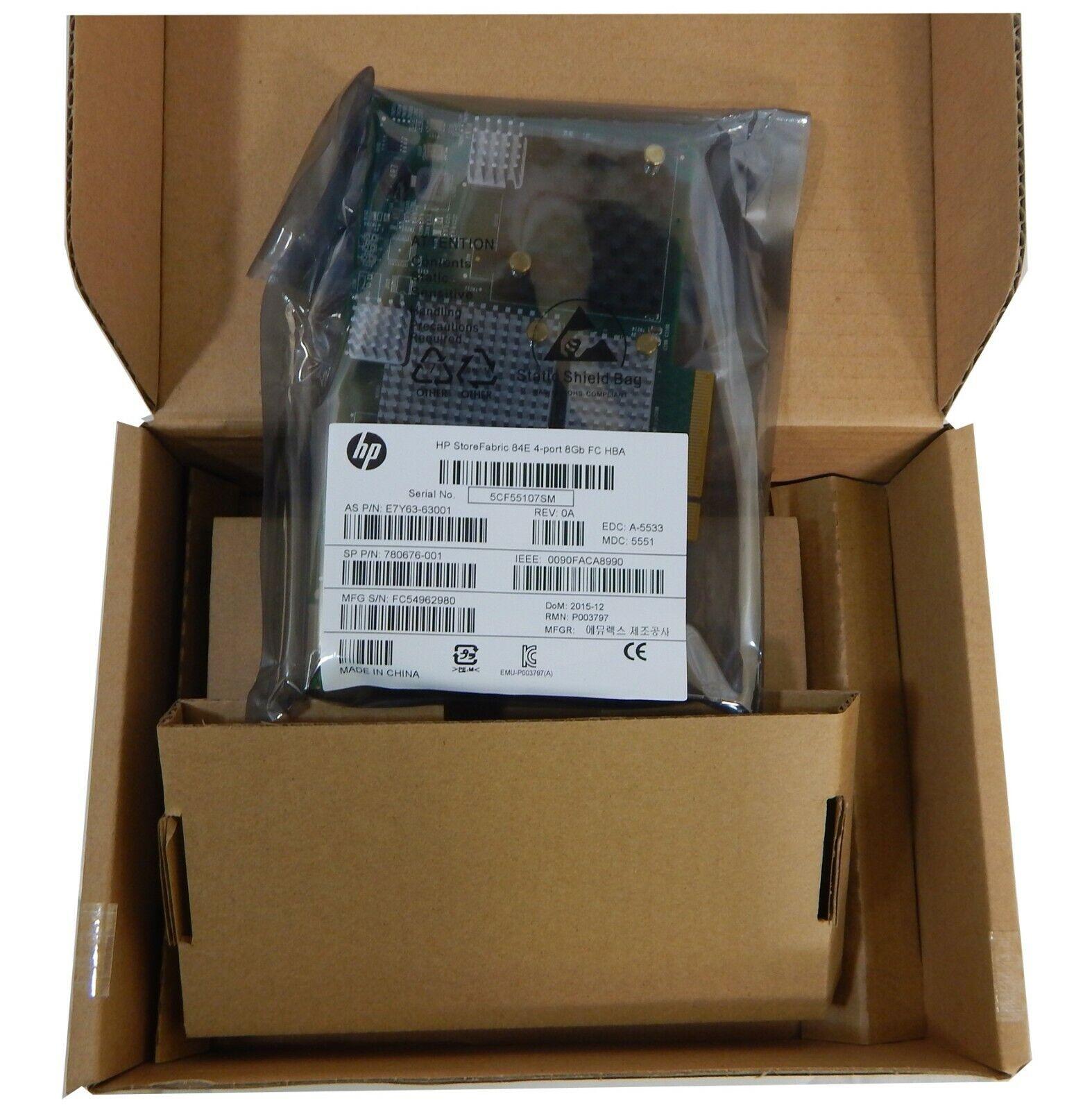 HP StoreFabric 84E 4-Port 8Gb FC HBA New E7Y63A SP P/N 780676-001