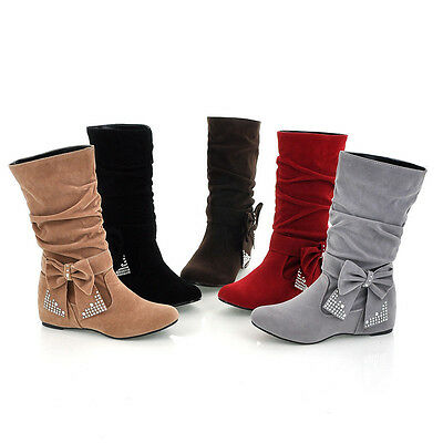 Fashion womens sweet ankle boot bowknot slouch pull on low heel plus size 5color