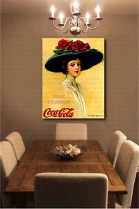 Details about Vintage Coca-Cola Girl Advertisement Wall Decor Canvas Art  Poster Repro Print