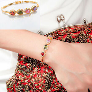 Fashion-Gold-Plated-Multi-Color-Crystal-Chain-Bracelet-Cuff-Bangle-Women-Jewelry