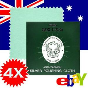 4 x Silver Polishing Cloths Jewellery Cleaning Cloth Clean Polish Sterling Ring