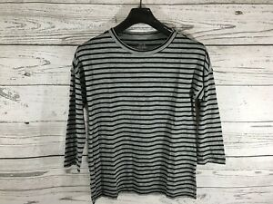 reliable reputation 2019 best sell quality design Details about Banana Republic Womens Gray Black Striped Malibu Tee 3/4  Sleeve Shirt XS NWT