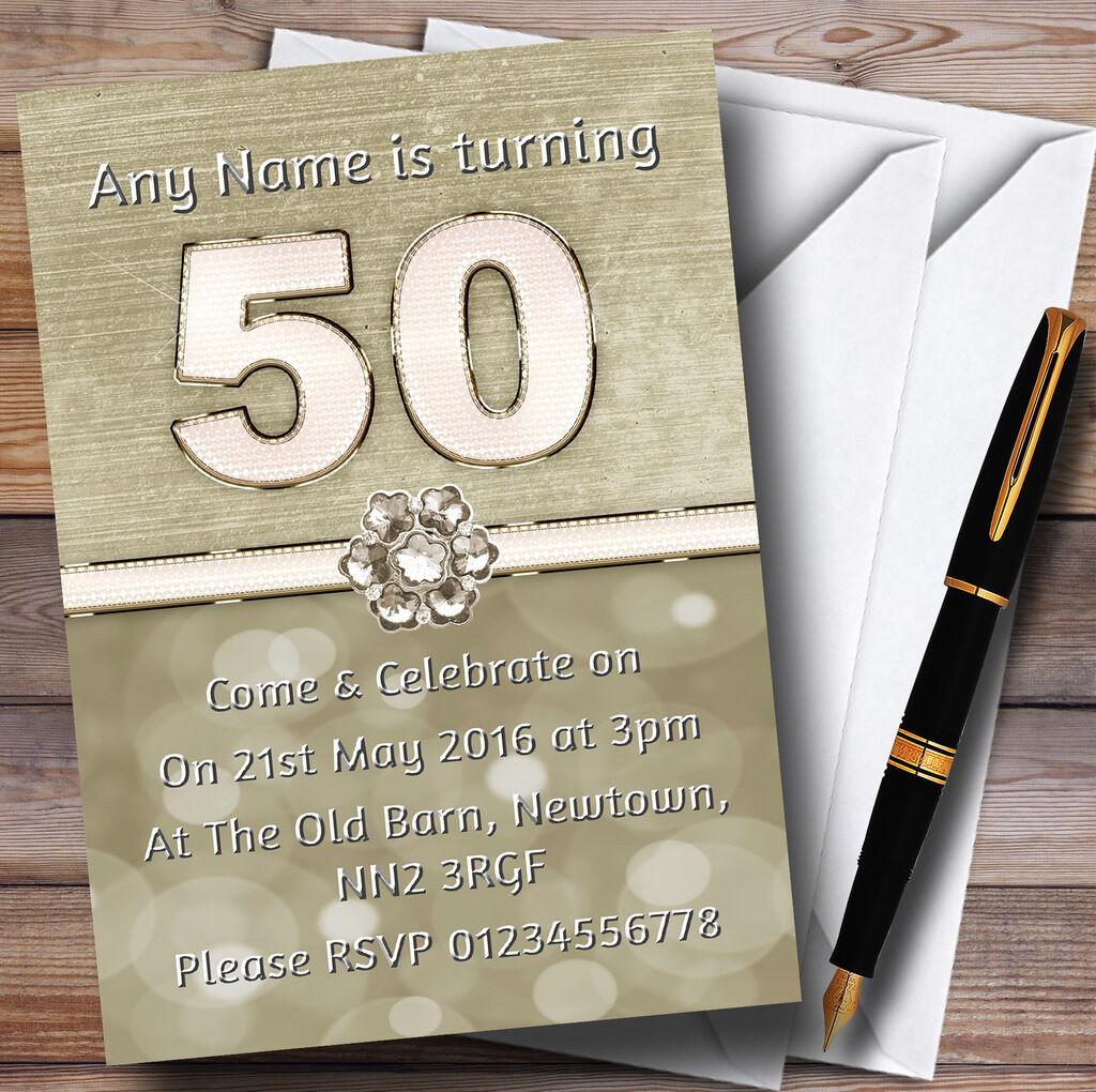 Titane blanc doré et blanc Titane 50ème Fête D'anniversaire Personnalisé invitations 544c71