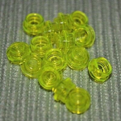 1x1 Clear Light Green Translucent Round Plate Bricks ~ New Lego Parts ~ 12
