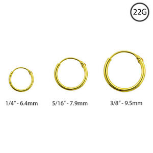 18k Gold Plated Nose Ring Hoop Continuous 1 4 5 16 3 8 22 Gauge