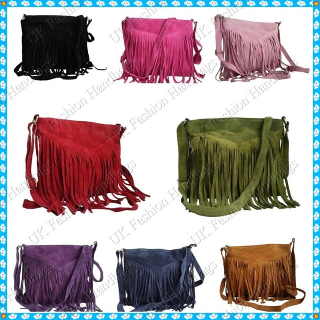 Italian Real Genuine Suede Leather Tassels Cross Body Messenger Handbag Bag