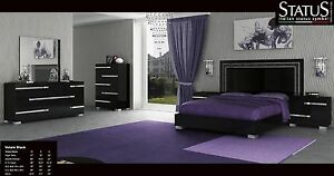 Details about VOLARE - KING SIZE MODERN BLACK BEDROOM SET 5PC MADE IN ITALY