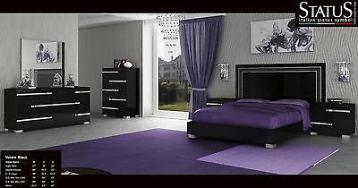 VOLARE - KING SIZE MODERN BLACK BEDROOM SET 5PC MADE IN ...