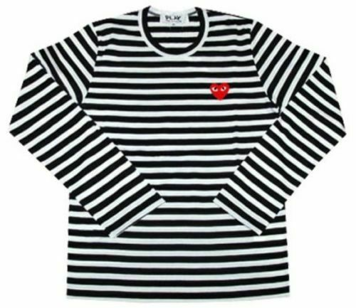 2019 Red Heart Comme des Black Striped cdg T Shirt Play Long Sleeve sz M