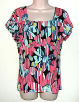Susan Lawrence Multi Color Short Sleeve Pull Over Top L Bust 34 Length 25