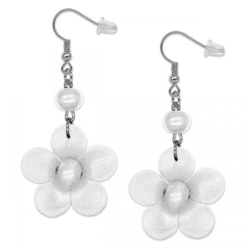 1 pares de pendientes ohrhänger conector flores flores cuero genuino Handmade señora