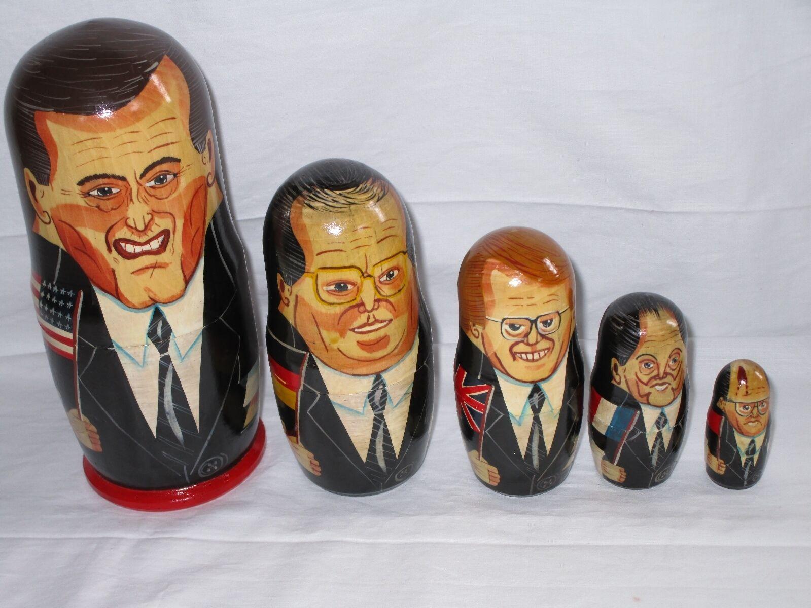 nuovo stile Political Nesting bambolas  autobush, Mitterre, Kohl, Major, Major, Major, Gorbachev RARE  acquista la qualità autentica al 100%