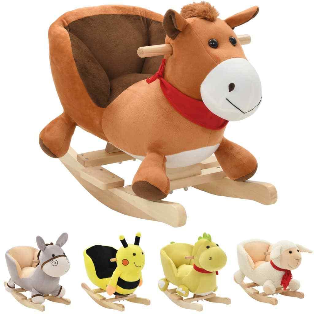 vidaXL Schaukeltier Hummel Plüsch Schaukelpferd Kinder Baby Schaukelspielzeug# Schaukelspielzeug