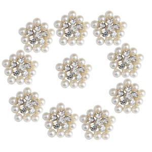 10x Gold Crystal Pearl Flatback Buttons Wedding Scrapbook Embellishment 22mm