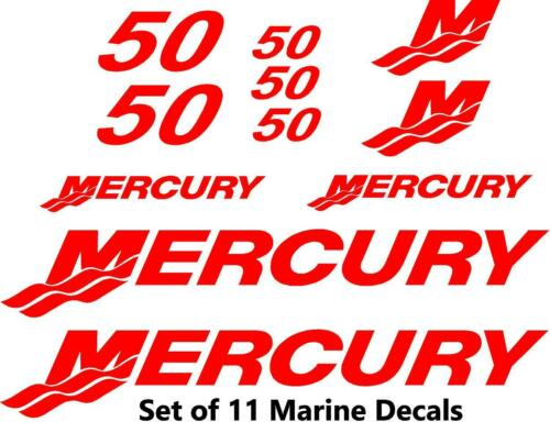 Set of 50 Hp Mercury outboard cowling decal set custom color choices 11pc