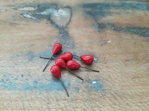 D35 ♥Nr Alte Glasanhänger Tropfen rot 6 Stück 11 x 7 mm♥