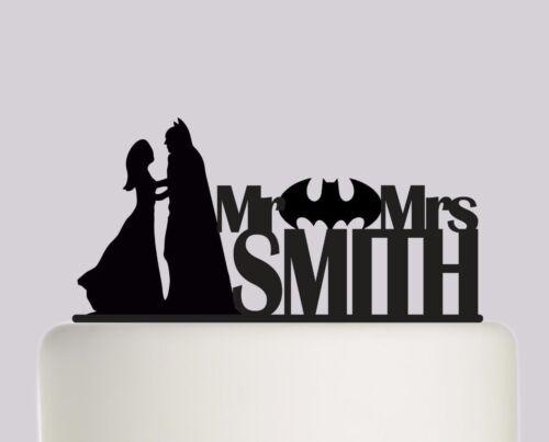 Batman Personalised Your Surname Acrylic Wedding Cake Topper Decoration.372